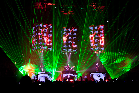 Muse's stage was set to green lazers that illuminated the arena