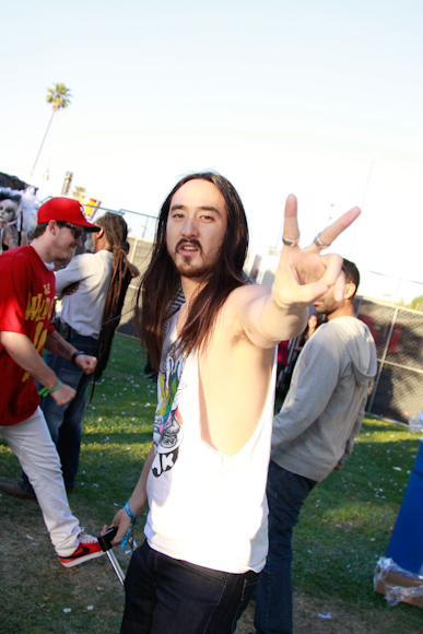 Steve Aoki getting ready to get on stage