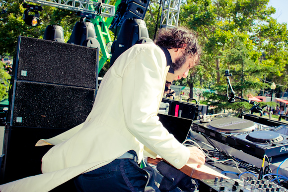 Daedelus kicked up a storm with his electro set on the Cosmic Meadows
