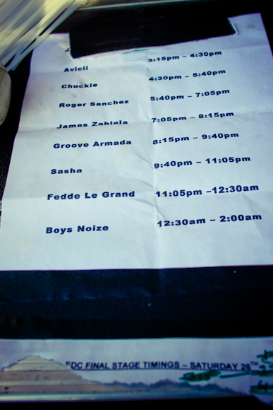 Set times were all delayed on Saturday as the gates to EDC didn't open till almost 3pm