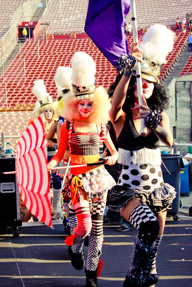 A band of clowns came to perform on stage during Will.I.Am's set