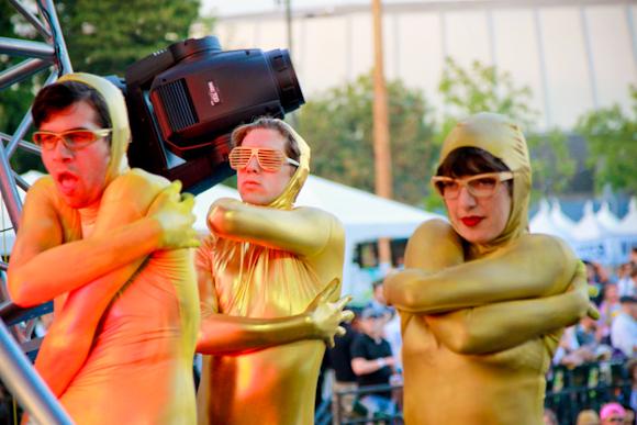 Gold dressed dancers on stage