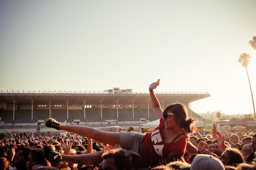 Crowd Surfing is also a sport at the Warped Tour festivals.