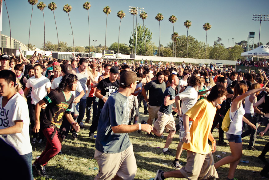 Another extreme sport at the Warped Tour, the Ring of Death, where a large open space forms in the middle of the crowd and then kids jump in and run in a giant circle together. Sometimes even drawing blood and causing injury.