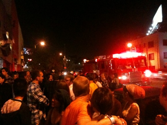 Scene outside The Echo with Los Angeles County firefighters