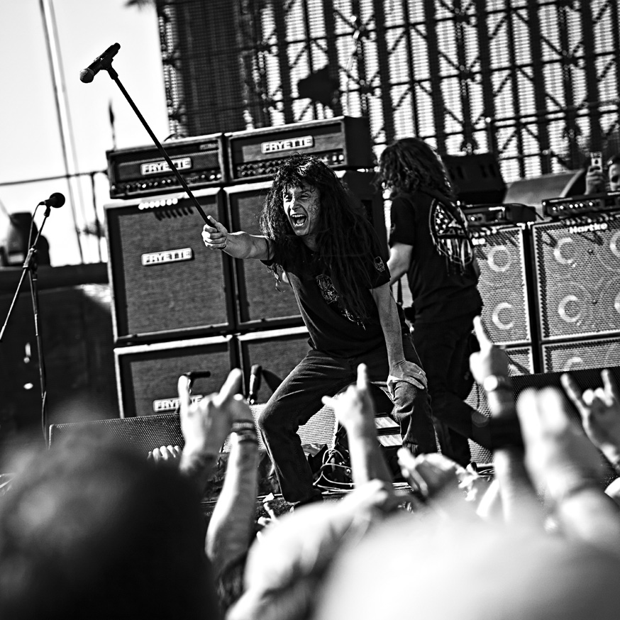 Anthrax performing at the Big 4 festival in Indio, CA. 23 April 2011.