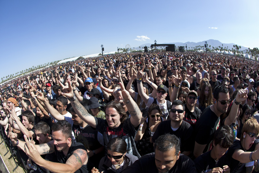 The crowd at the Big Four music festival, Indio, CA. 23 April 2011.