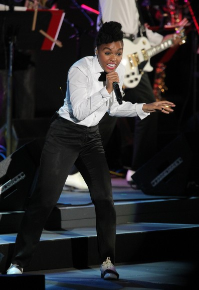 Singer Janelle Monae performs onstage at The Hollywood Bowl on July 24, 2011 in Los Angeles, California.