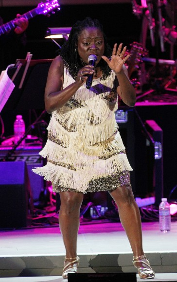 Singer Sharon Jones performs onstage at The Hollywood Bowl on July 24, 2011 in Los Angeles, California.