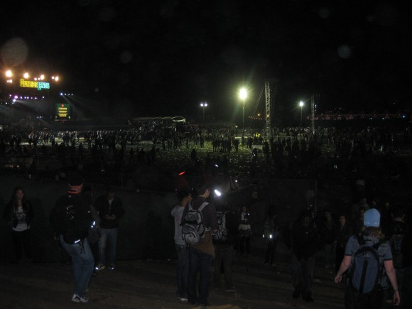 Outside Lands attendees leave the park on Saturday night.