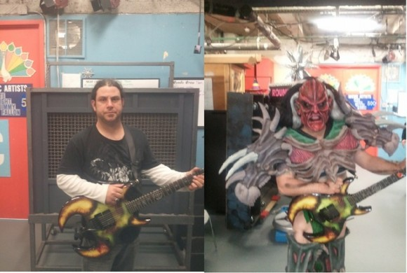 Cory Smoot, AKA Flattus Maximus, stands next to his GWAR alterego. He passed away of unknown causes on Thursday.