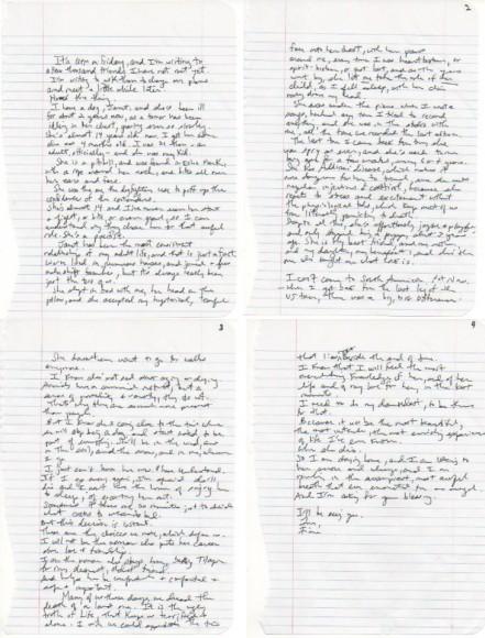Fiona Apple handwritten note to puppy