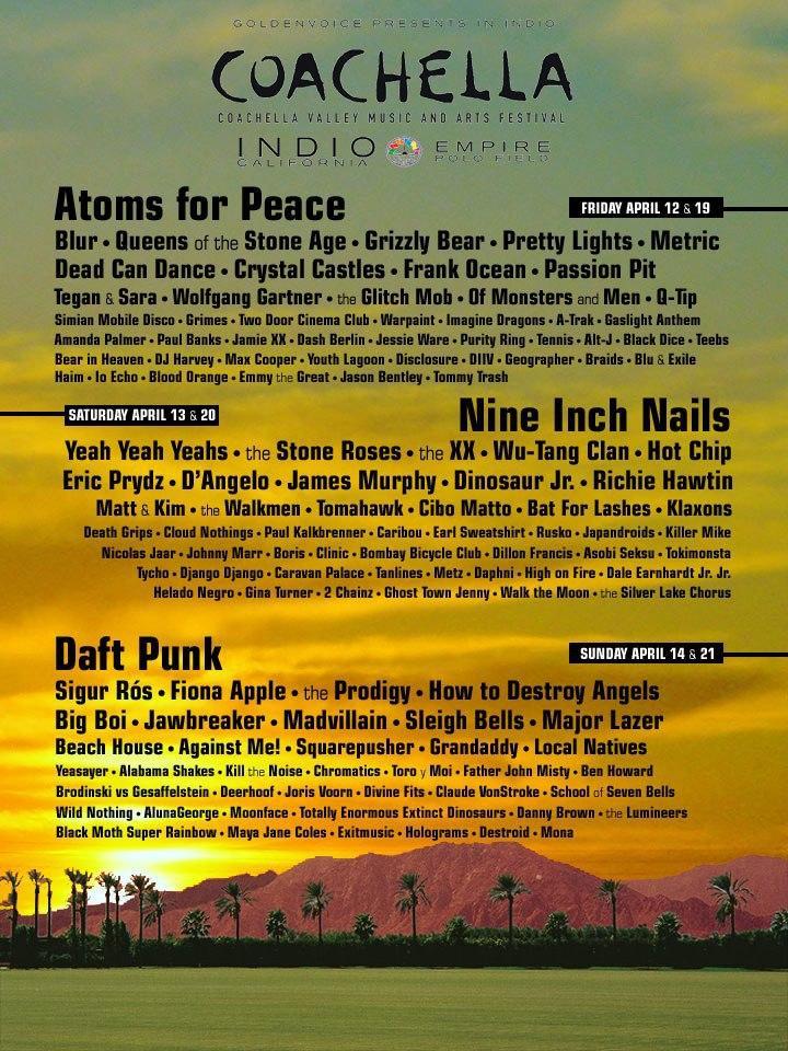 Coachella Line Up 2015