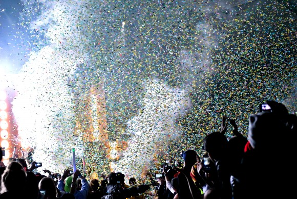 Confetti shower for the fans of Lights all night. Taken on December 30th at Fair Park in Dallas. Photographed by Mehreen Rizvi.