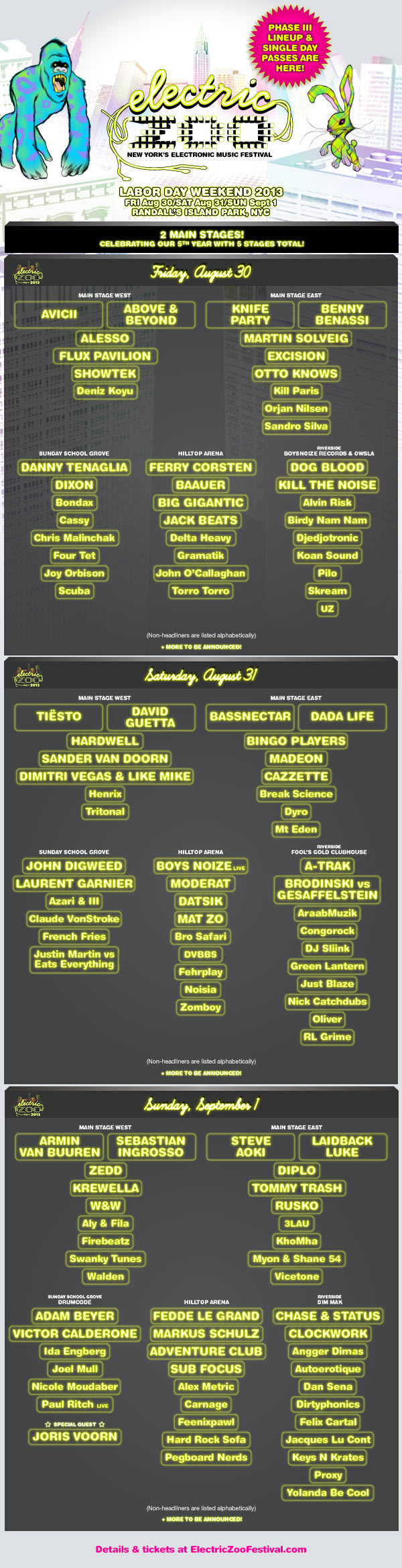 Electric Zoo Announces 2013 Lineup Including Tiesto, Knife Party, and ...