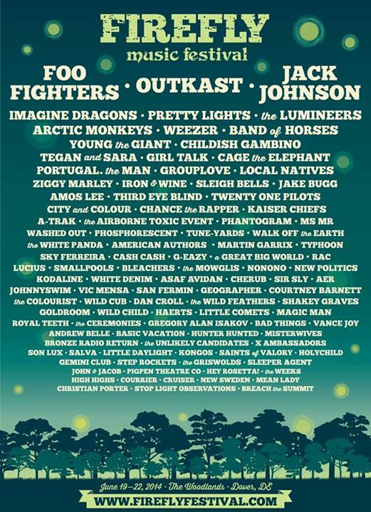 Firefly Music Festival Announces 2014 Lineup Featuring Foo Fighters ...