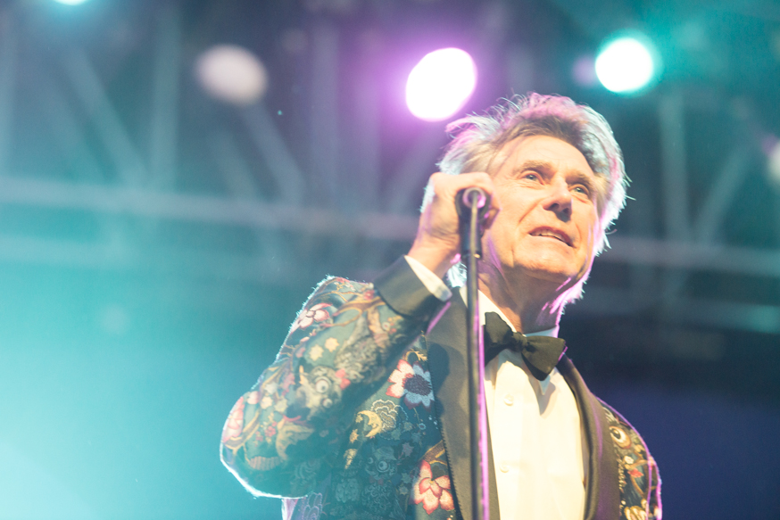 Bryan Ferry performing to a well too small audience in the Mojave tent.