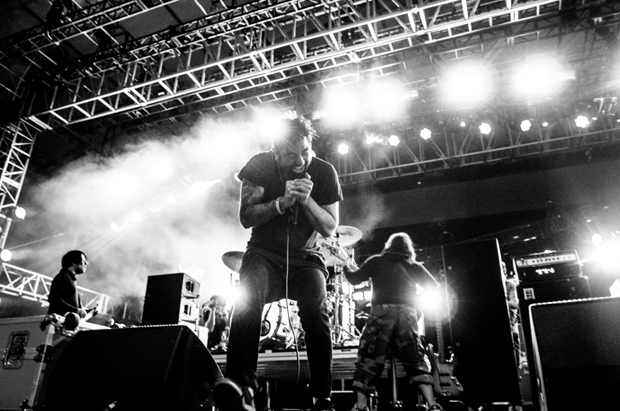 Chino Moreno of the Deftones performing with his band ††† at the Mojave tent Friday night.