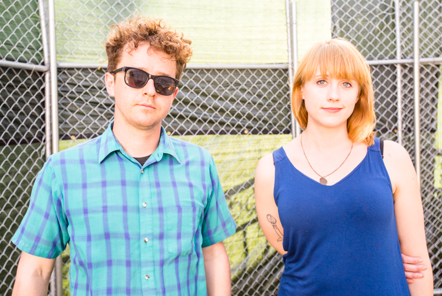 Wye Oak members Andy Stack and Jenn Wasner take a break after their set on Friday.