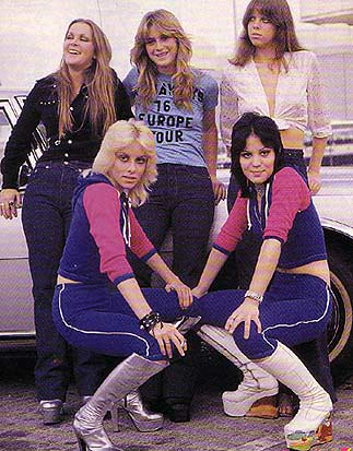 The Runaways in 1976. Back Row (L-R): Lita Ford, Sandy West, Jackie Fox. Front (L-R): Cherie Currie & Joan Jett