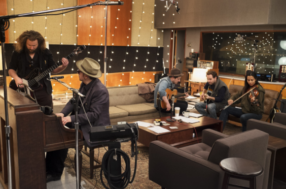 Jim James of My Morning Jacket, Elvis Costello, Marcus Mumford of Mumford & Sons, Taylor Goldsmith of Dawes and Rhiannon Giddens of Carolina Chocolate Drops recording as The New Basement Tapes at Capitol Studios. (Sam Jones)