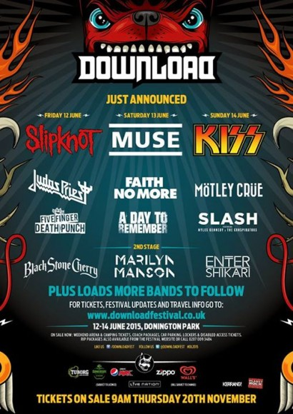 The Download Festival Has Announced Their Official 2015 Lineup Featured Bands Include Slipknot Judas Priest And Five Finger Punch