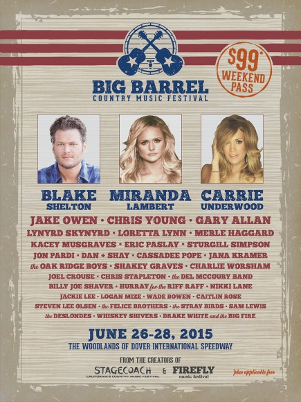 big barrel country music festival 2015 lineup announced