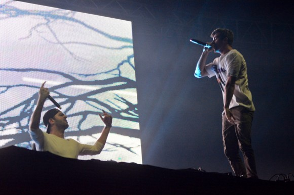 The Chainsmokers making good use of the stage
