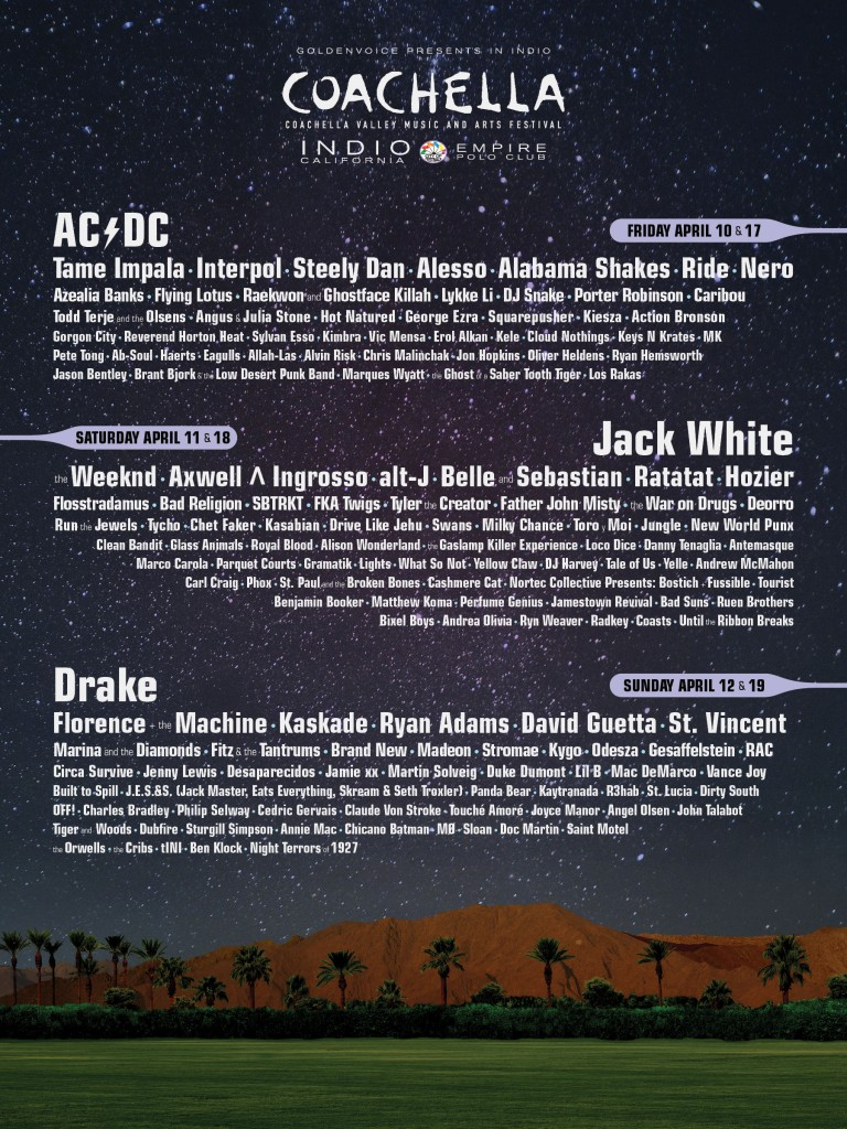 Coachella 2015 Lineup Announced Featuring AC/DC, Jack White And St. Vincent