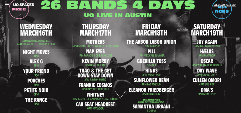 Urban Outfitters Live in Austin SXSW 2016 Day and Night Parties Announced