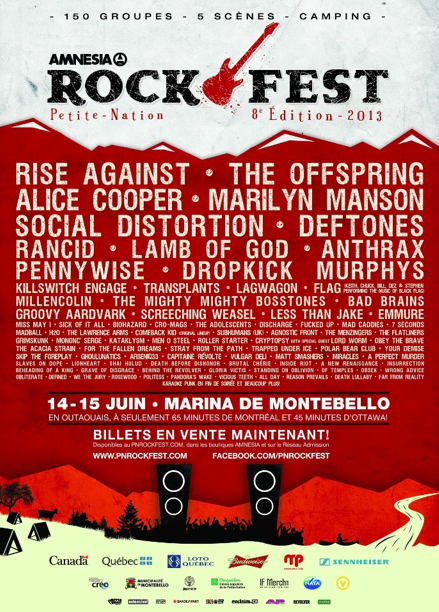 Amnesia Rockfest Announced Featuring System Of A Down, Slayer, And Refused