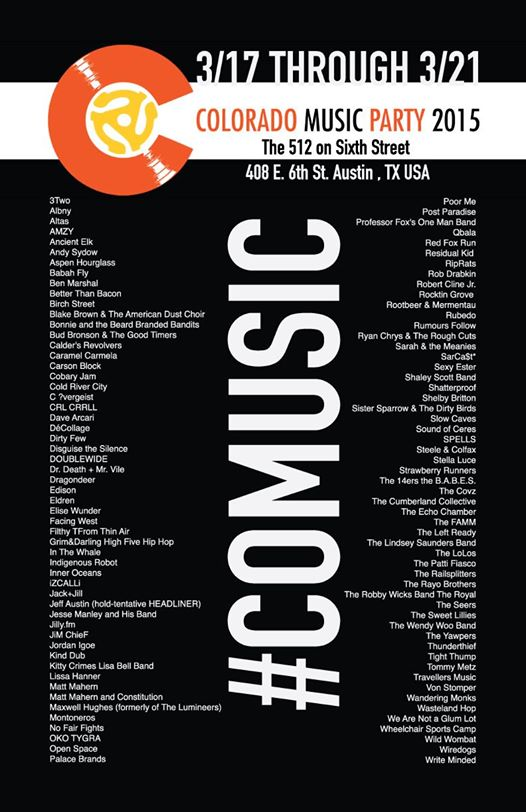 Colorado Music Party SXSW 2015 Party Announced