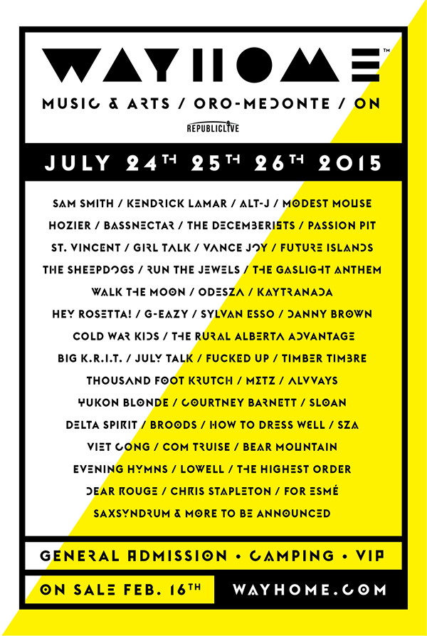 WayHome Music and Arts Festival 2015 Lineup Announced Featuring Alt-J, The Decemberists and St. Vincent