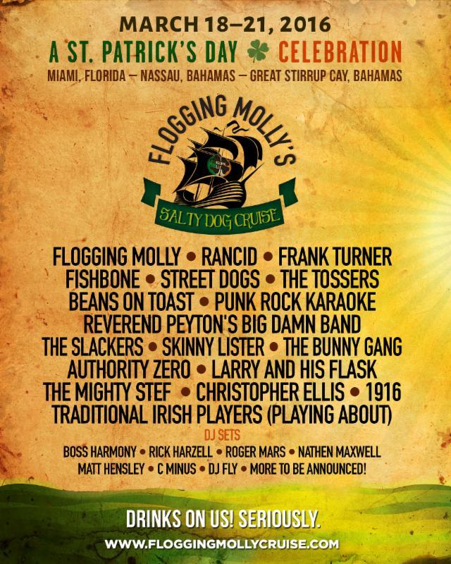 Flogging Molly Cruise 2020.Flogging Molly S Salty Dog Cruise 2015 Lineup Announced