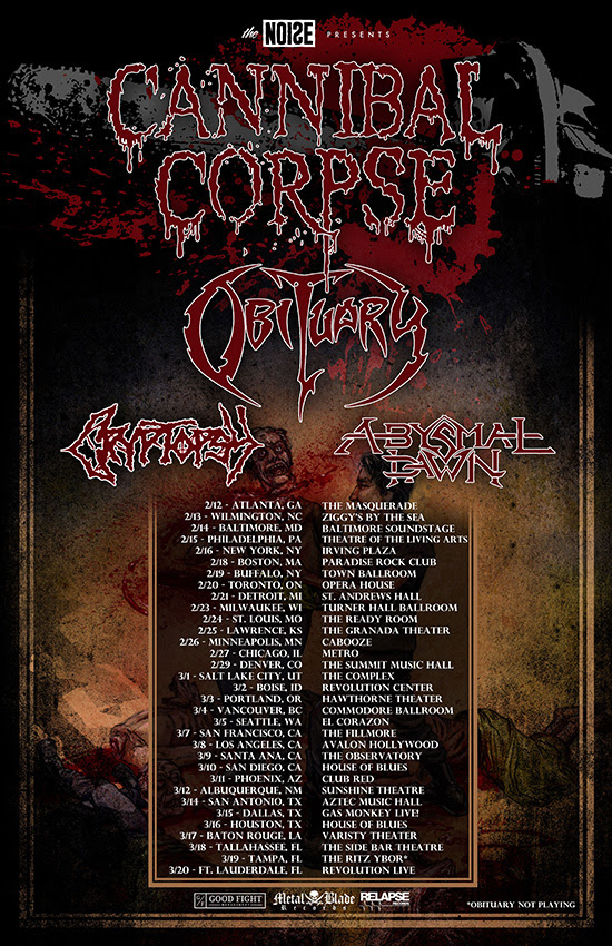 Cannibal Corpse Announce Winter 2016 Tour Dates With