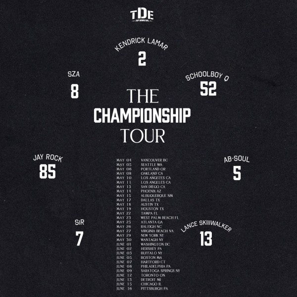 The Championship Tour with Kendrick Lamar, SZA, Schoolboy Q