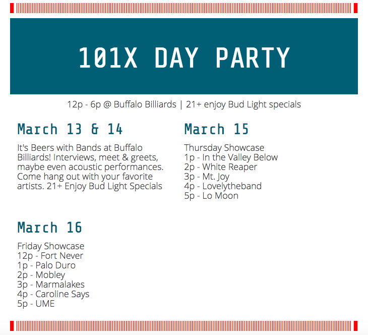 101x Day Party Lineup