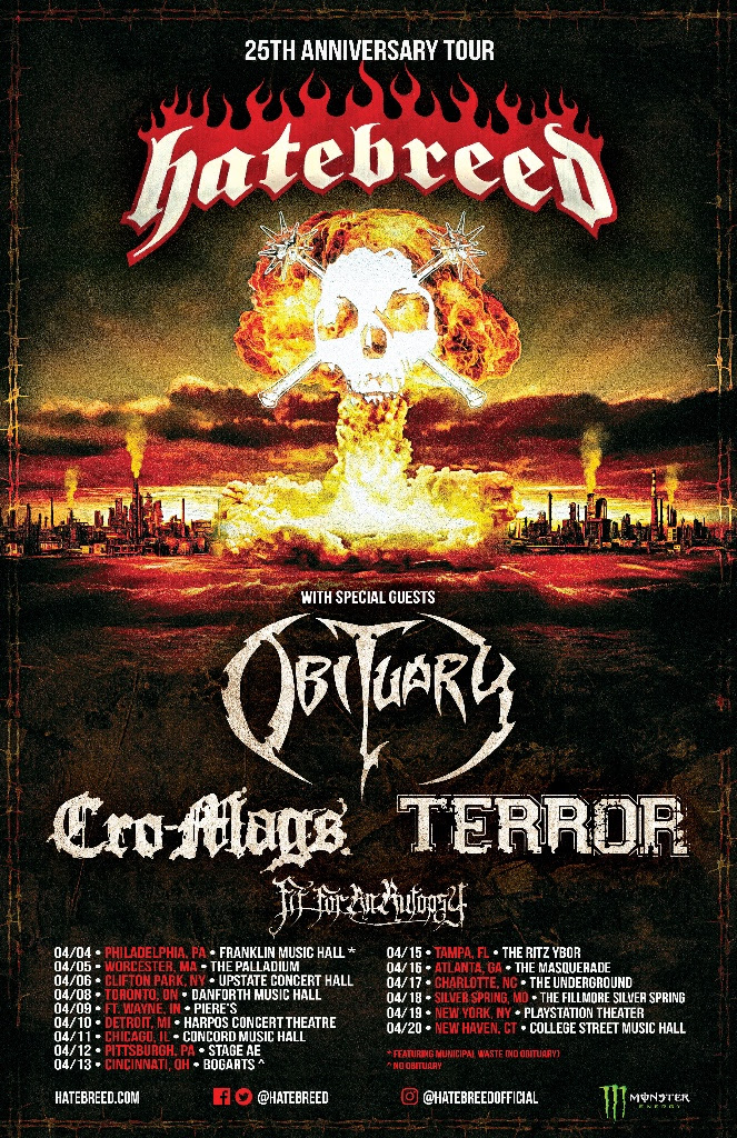 Hatebreed Announces Spring 2019 25th Anniversary Tour Dates