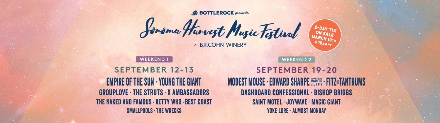 Sonoma Harvest Music Festival Announces 2020 Lineup Featuring Modest Mouse, Edward Sharpe and the Magnetic Zeros and Bishop Briggs