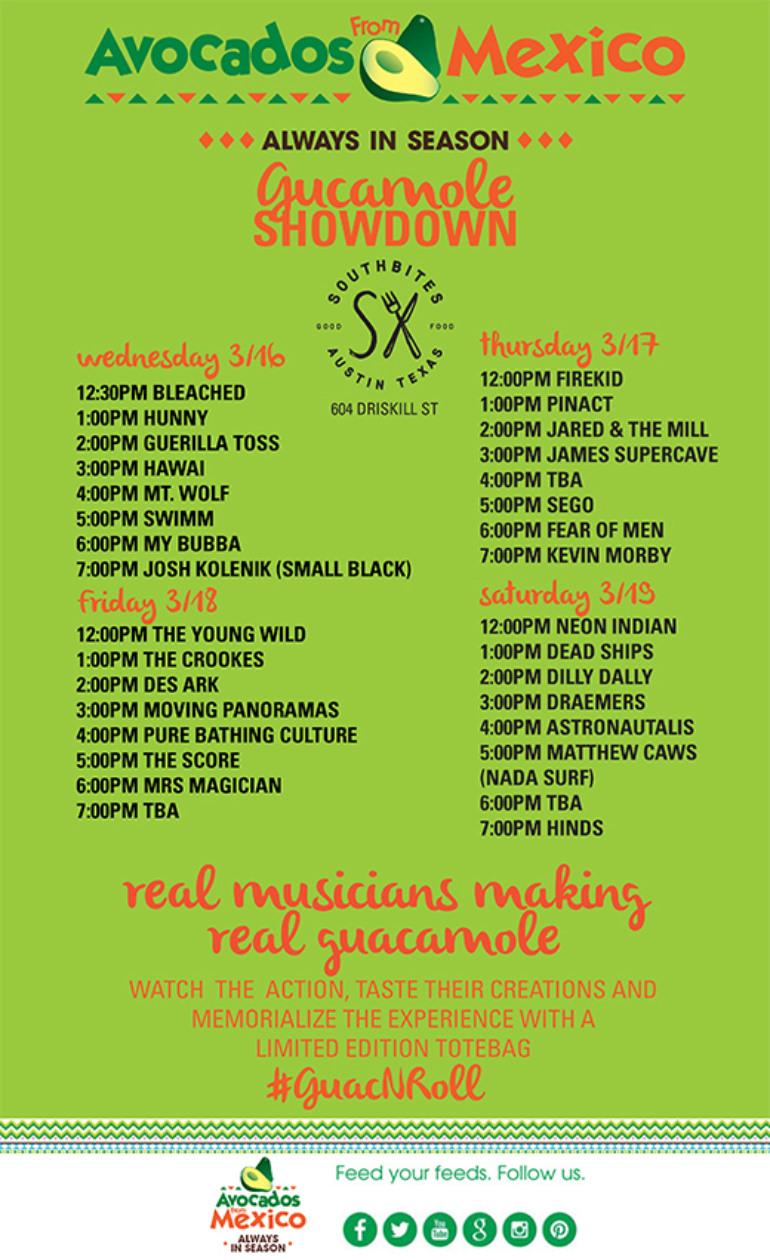 Guacamole Showdown SXSW 2016 Day Parties Announced