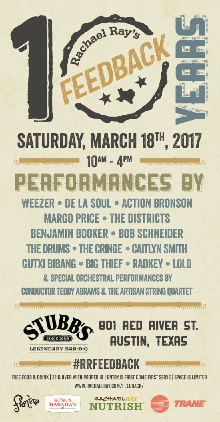 Rachael Ray's Feedback SXSW 2017 Party Announced ft Weezer