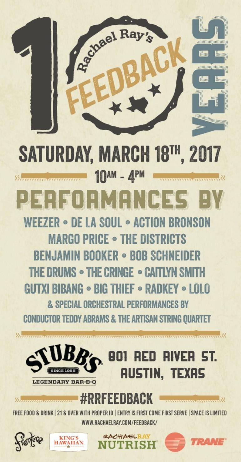 Rachael Ray's Feedback SXSW 2017 Party Announced ft Weezer